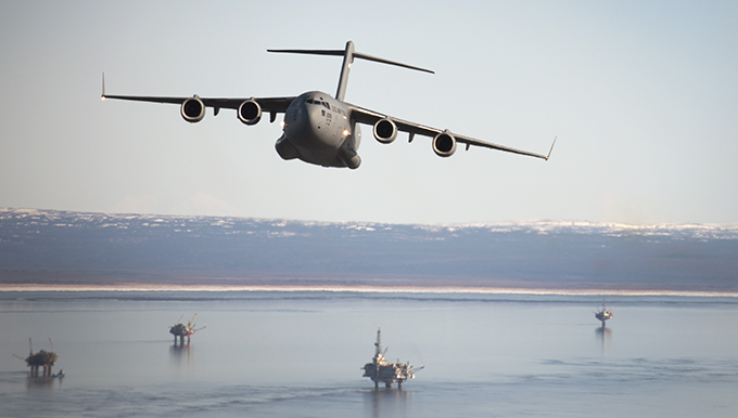 C-17 flies over south Alaska